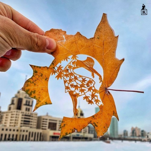Парень из Нур-Султана доказал, что засохшие листья — это тоже искусство