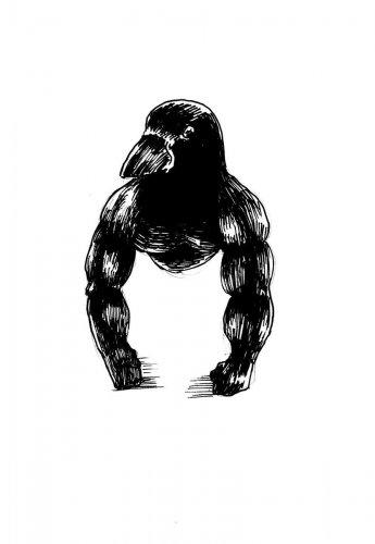 Мускулистая ворона напугала пользователей Сети