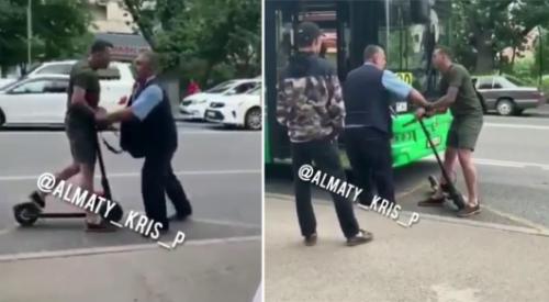 Полиция завела дело на самокатчика, подравшегося с водителем автобуса