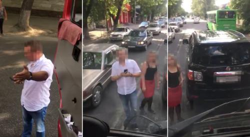 Грузовик протащил джип в Алматы. Что произошло между водителями