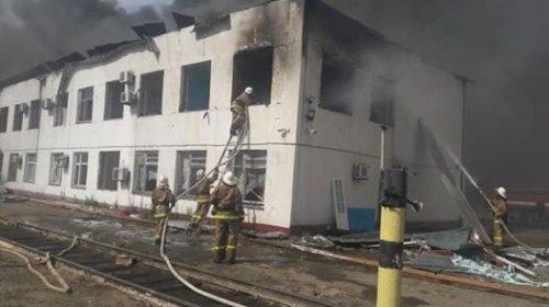 Пожар начался в Арыси