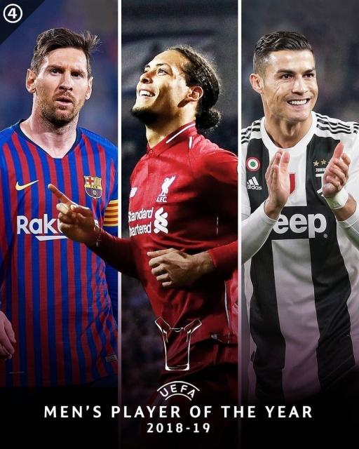 УЕФА назвал тройку претендентов на звание лучшего игрока-2018/19