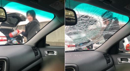 Алматинка огнетушителем разбила чужое авто