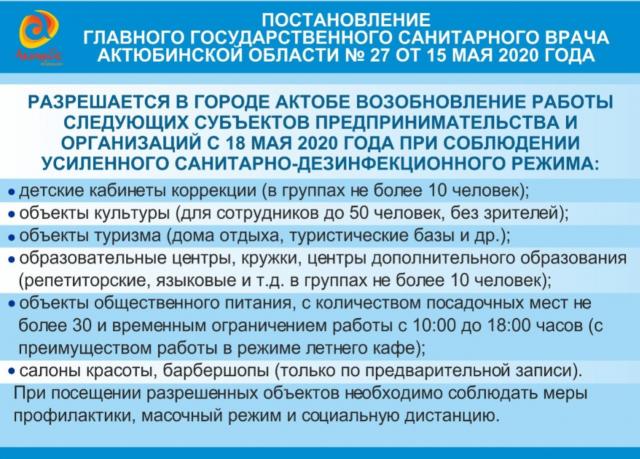 Послабления карантина в Актобе и Актюбинской области откладываются