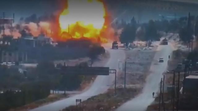 В Сети появилось видео подрыва российского патруля в Сирии