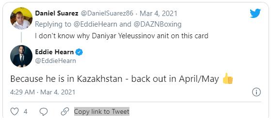 Следующий бой Данияра Елеусинова. Известны соперник и дата
