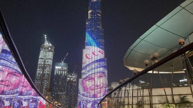 Портрет Гагарина появился на самом высоком здании в мире