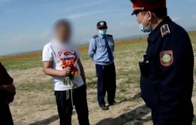 За срыв краснокнижных тюльпанов задержан житель Шымкента
