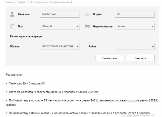 Сколько в Казахстане человек с именем Конституция