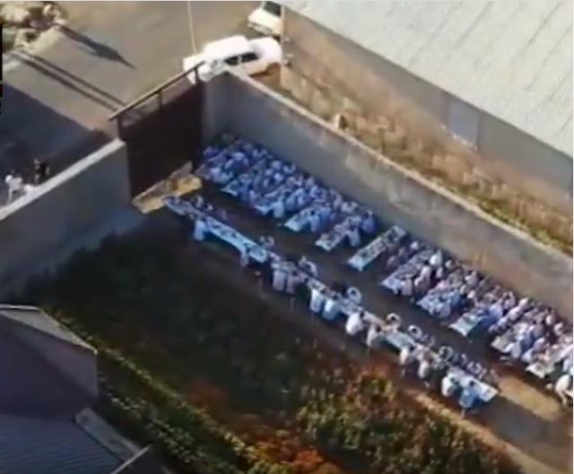 Как муравьи.  Массово разбегающихся от полиции туркестанцев сняли на дрон